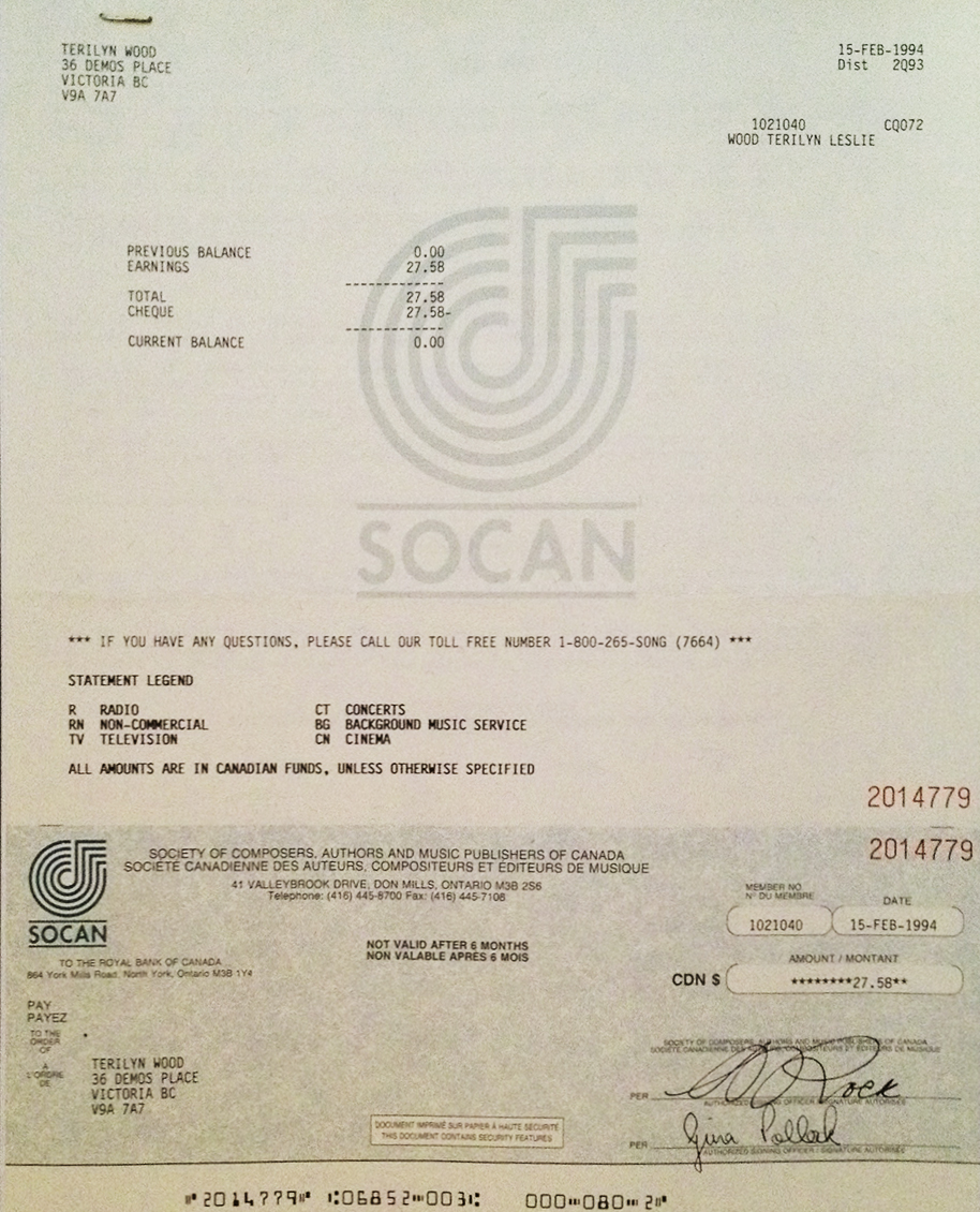 Teri Wood 1st SOCAN Royality Cheque